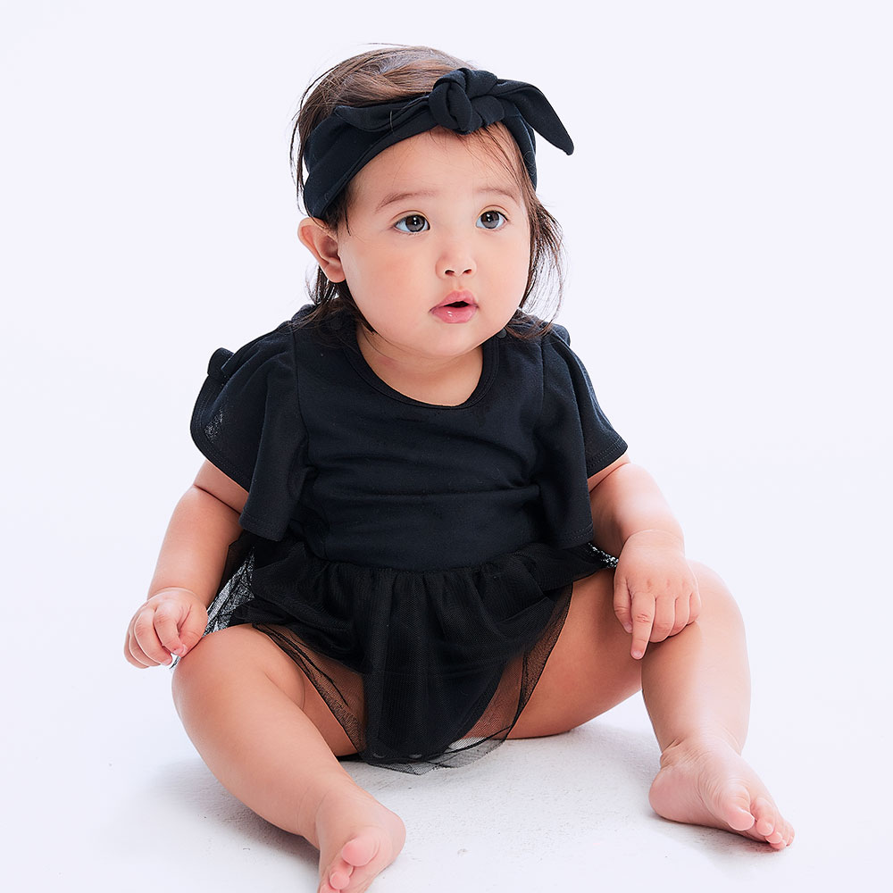 BABY lotus leaf sleeve style bag fart dress (with hair band)