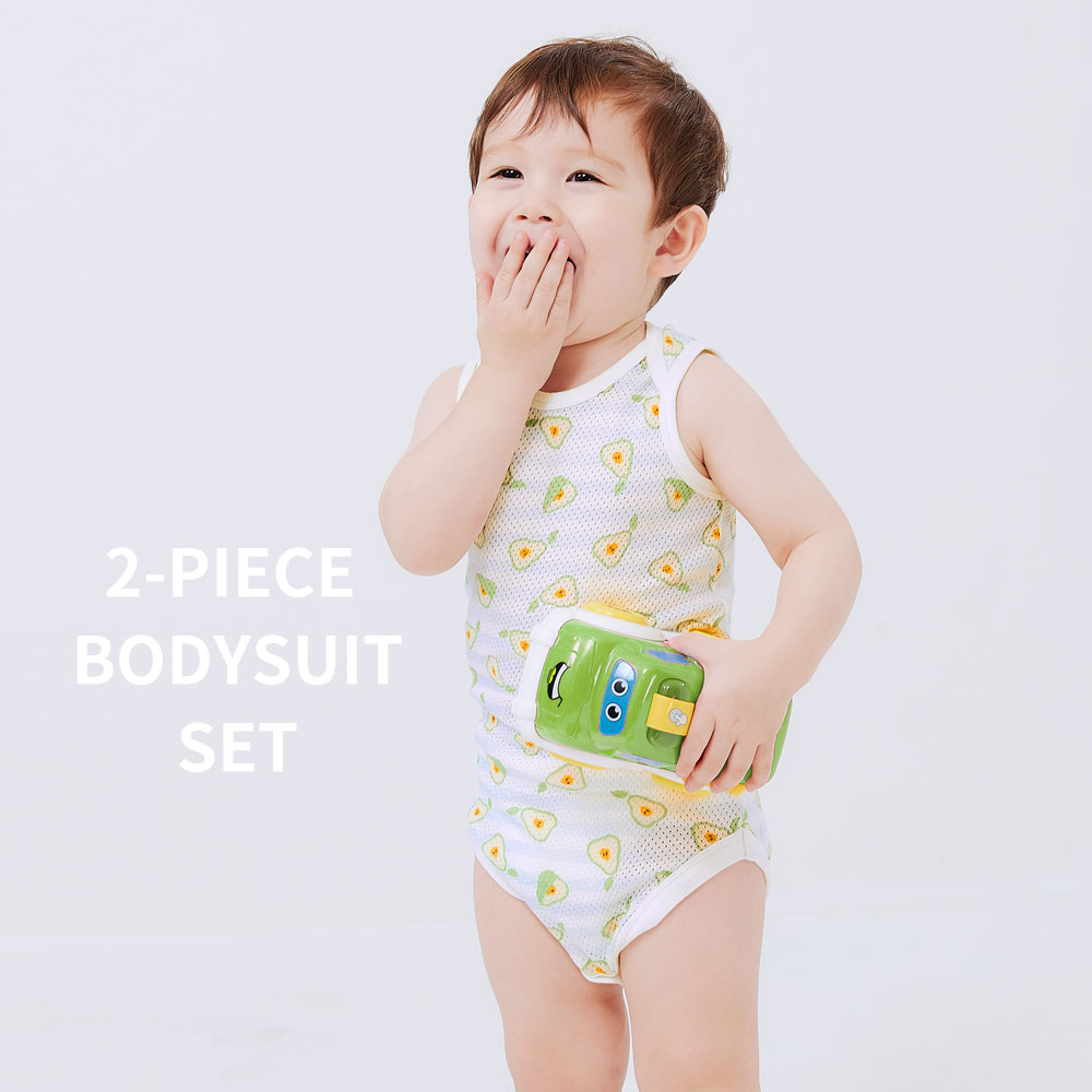 BABY 純棉網眼無袖包屁衣(2入)-西瓜/柳丁/西洋梨