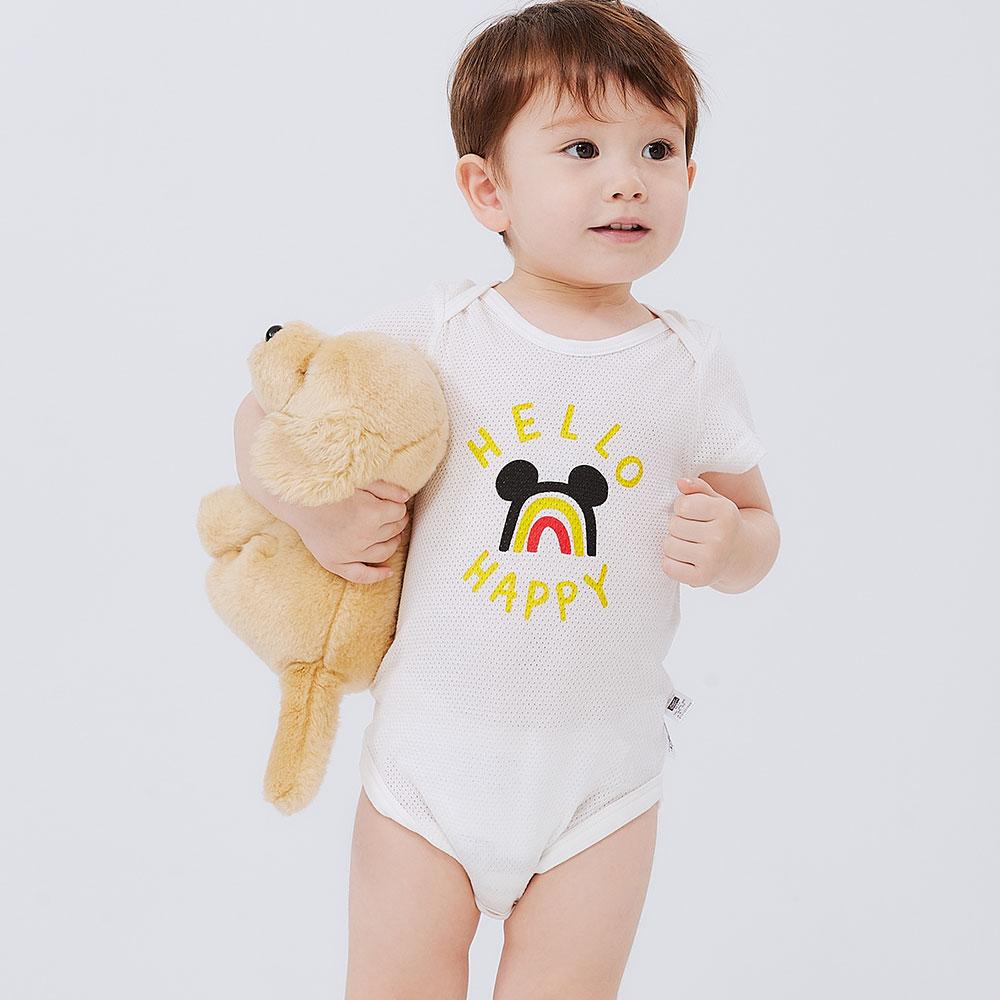 BABY純棉網眼包屁衣(2入)-彩虹米奇