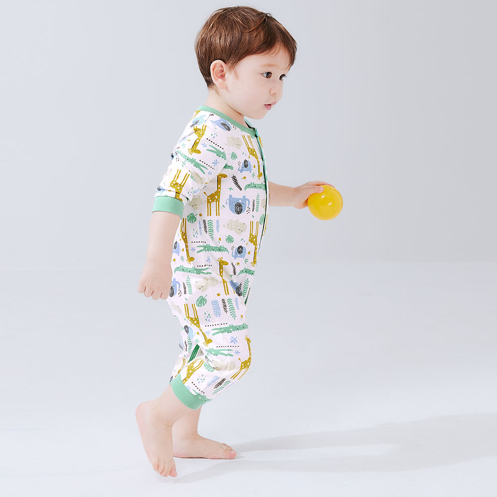 BABY Long Sleeve Jumpsuit-Zoo/Tropical Rainforest