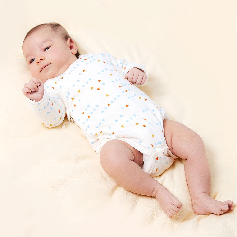 新生兒 Q彈棉質長袖包屁衣(2入)-幾何三角