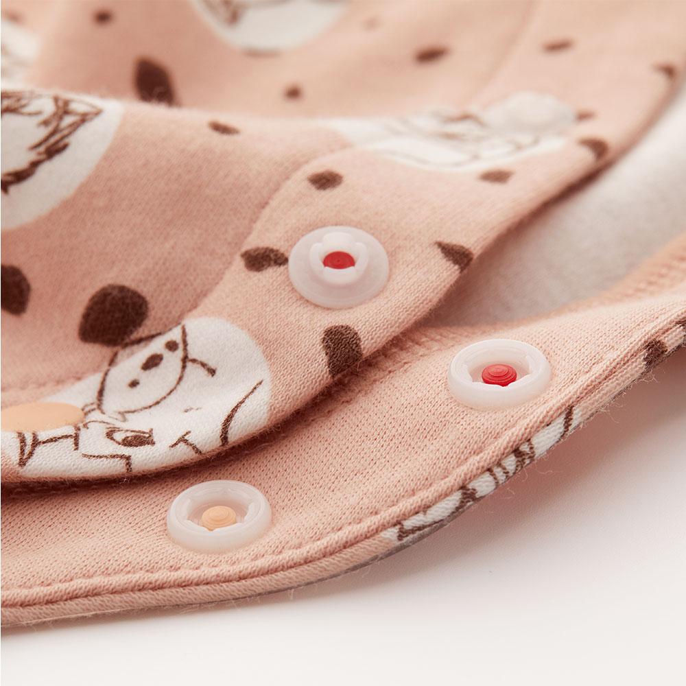 新生兒 Q彈棉質長袖包屁衣(2入)-點點貓狗
