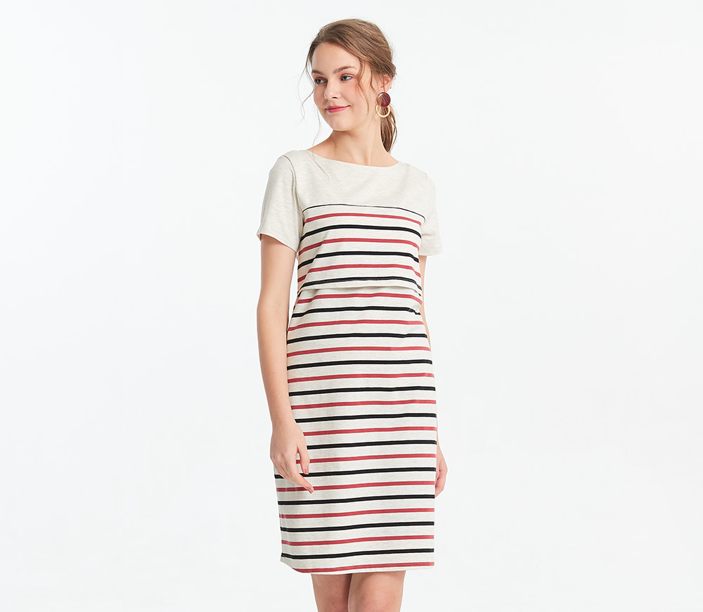 棉質色條拼接孕哺洋裝