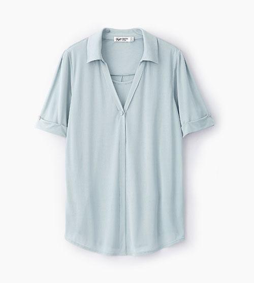 V字襯衫領五分袖孕哺上衣