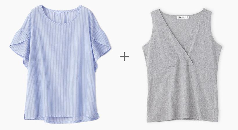 荷葉袖孕哺平織衫(2件式)