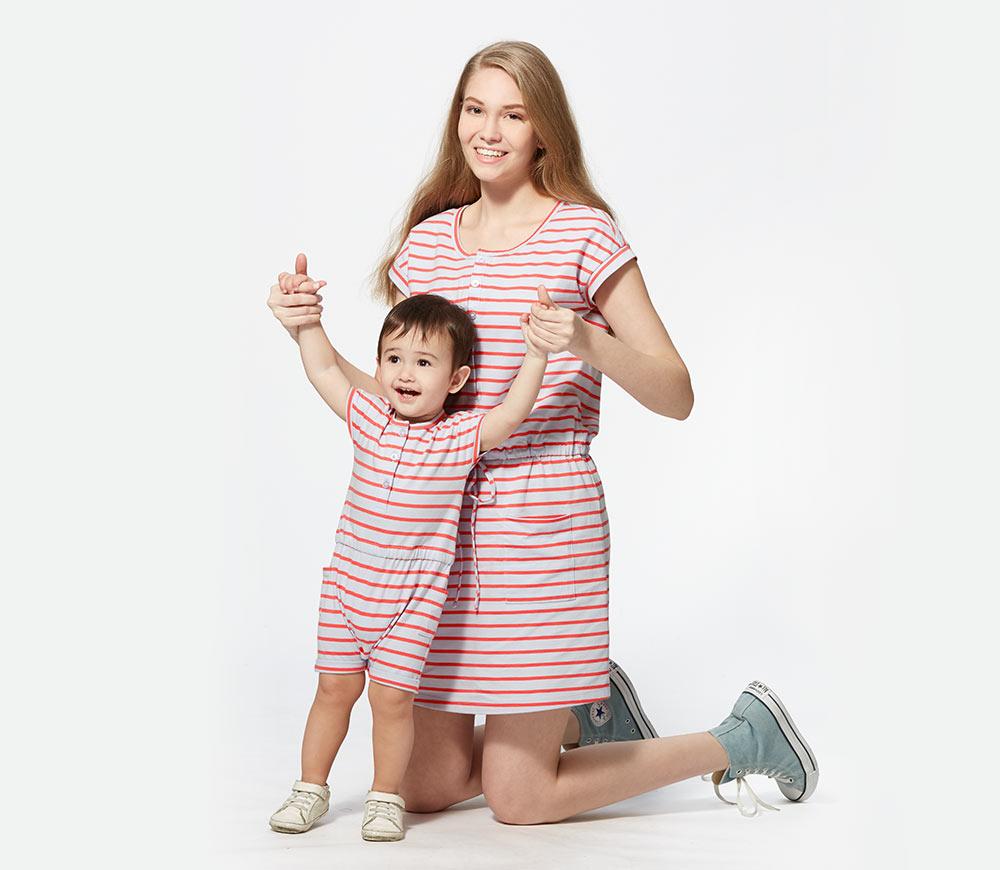 橫條抽繩孕哺洋裝