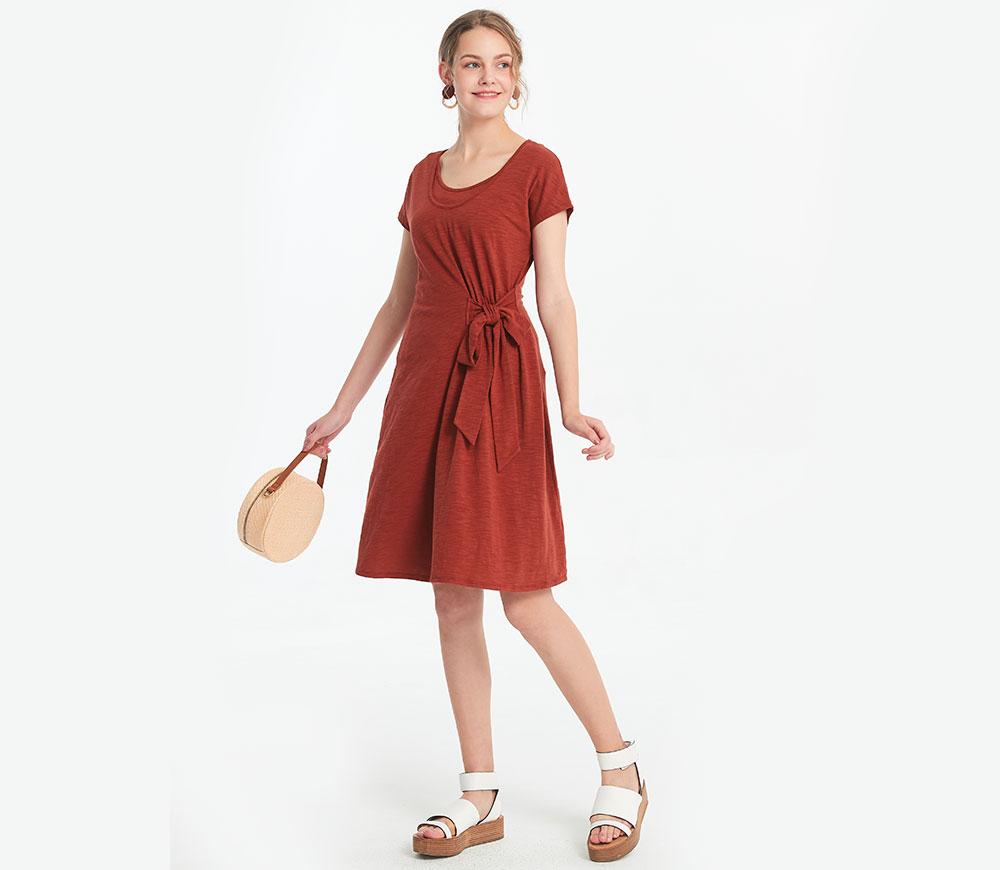 優雅綁帶孕哺洋裝