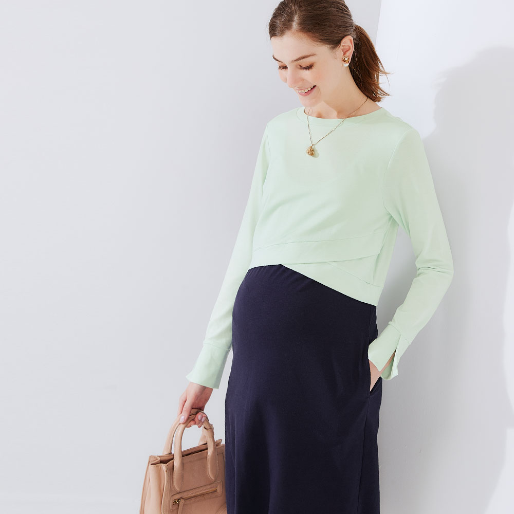Stitching fake two pregnant and nursing dresses