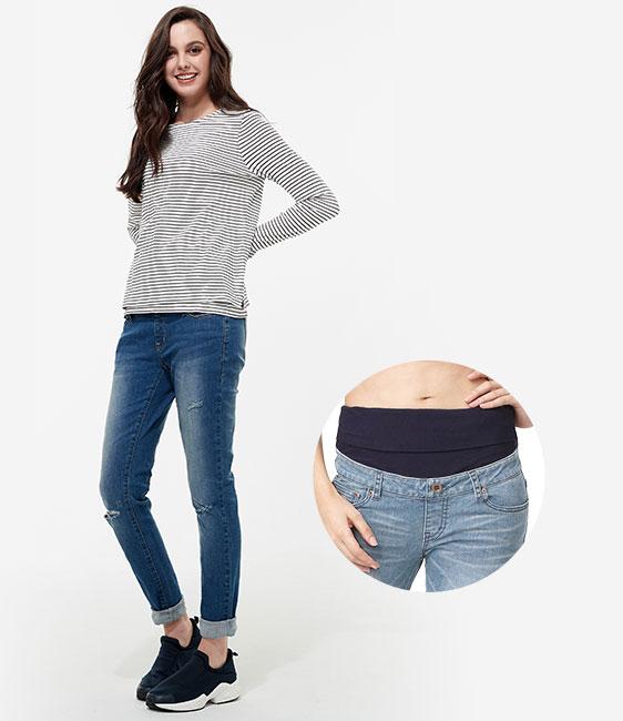 刷破修身窄管牛仔孕婦褲