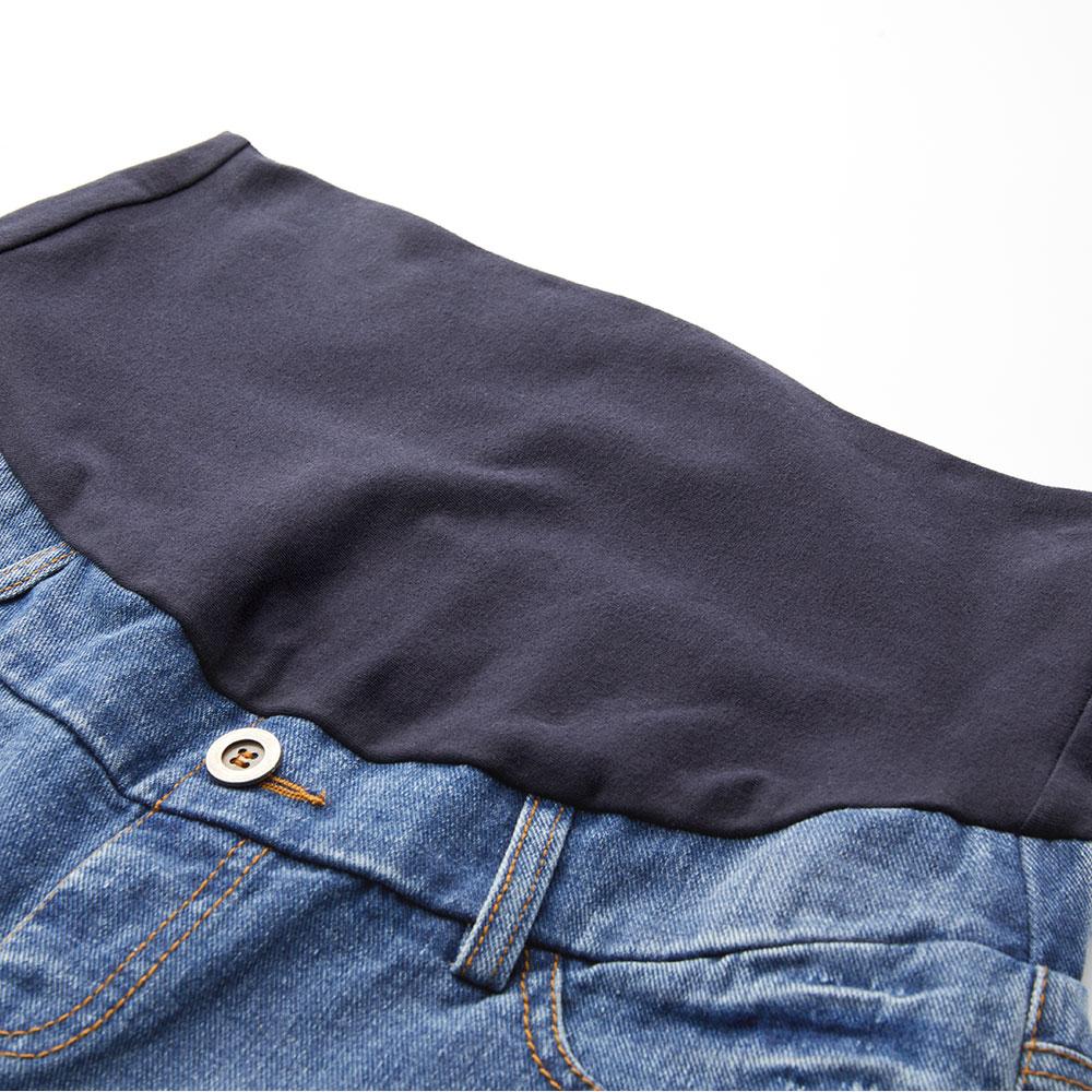 刷白蕾絲割破牛仔孕婦短褲